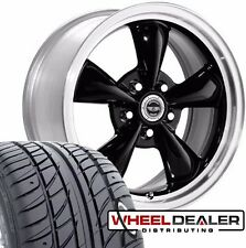 """17"""" BLACK AMERICAN RACING TORQ THRUST WHEELS & TIRES FOR FORD MUSTANG 1967 1968"""