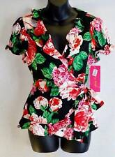Sunny Leigh Womens Blouse Top Size Petite Medium Red Flower New 4730