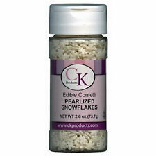 Pearlized Snowflakes Edible Confetti Sprinkles 2.4 oz from CK  11412 - NEW