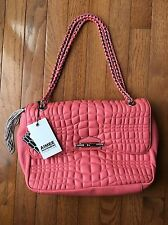 Aimee Kestenberg Collection Coral Leather Top Stitched Flap Handbag New