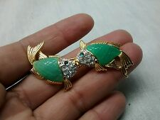 vtg. KJL Kenneth Jay Lane faux diamond jade fish gold tone Pin brooch no.2