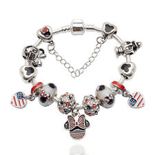 Disney USA Mickey & Minnie Mouse Donald Duck Pandora Charm Bracelet & Charms