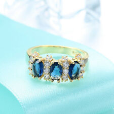 New 18k yellow gold filled Sapphire fashion jewelry wedding ring size7 N960-7