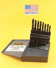 "Drill Hog 21 Pc Drill Bit Set 1/16-3/8"" HSS M2 Steel Lifetime Warranty USA MADE"