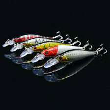 Lot 5pcs Minnow Fishing Lures Bass Crankbait Hooks Tackle Crank Baits 8cm/9g