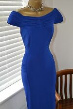 Amazing ⭐️ Holly Willoughby ⭐️ Blue Ruched Stretch Dress Size 16 Wedding Races