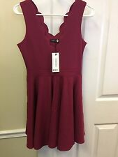Boohoo Womens Vivy Scallop Plunge Skater Dress Raspberry Size US 6