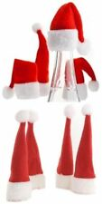 4 SANTA HAT FESTIVE WINE BOTTLE TOPS TOPPERS FATHER CHRISTMAS DINNER DECORATION