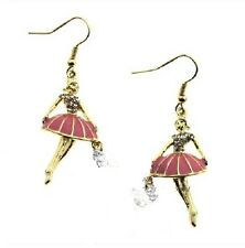 E107 Betsey Johnson Ballerina Ballet Dancer Dance Black Swan Earrings US