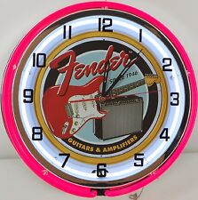 "18"" Vintage FENDER GUITAR Metal Sign Dbl Neon Wall Clock w/ Metal Housing"