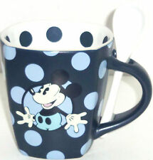 Disney Mickey Mouse Coffee Mug Spoon Cup Polka Dot Blue Theme Parks New