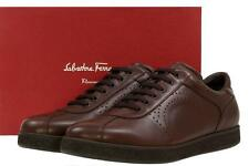 NEW SALVATORE FERRAGAMO FUSION BROWN LEATHER LACE-UP SNEAKERS SHOES 46/12 EE