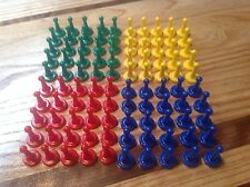 Sorry Type Board Game Tokens Lot of 100 ~ 25 Yellow, 25 Red, 25 Green & 25 Blue