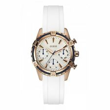 Guess W0562L1 Ladies Catalina Watch Rose Gold Tone White Silicone UK Seller
