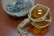 "REPRODUCTION AMBER GLASS FLOAT BALL BUOY WITH FISHING NET 4"" #F-510"