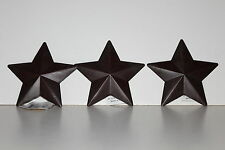 """SET OF 3 RUSTIC WARM BROWN  5""""   5 POINT BARN STAR'S HANGERS  * NEW *"""