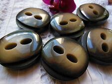 Lot 6 gros boutons vintage effet corne marrontrés épais diamètre: 3 cm ref 898