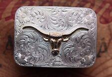 Vintage Montana Silversmiths Longhorn Steer Cowboy Cowgirl Western Belt Buckle
