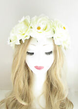 Large Cream White Rose Daisy Flower Hair Crown Garland Festival Headband Big 274