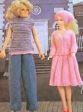 Poupées vêtements un jour en ville, (fashion dolls taille barbie etc) knitting pattern
