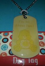 "Care Bears FUNSHINE Bear 28"" DOG Tag Necklace ""I'm All About Fun!"""