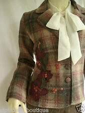 Vintage Style Heritage Wool Blend Tweed Jacket Blazer Coat UK 8 10 Excellent