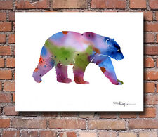 Polar Bear Abstract Watercolor Painting Art Print by Artist DJ Rogers