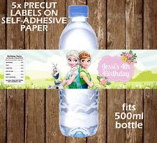 Fiebre congelada Personalizado etiquetas de botella de agua de Fiesta de Cumpleaños de niños favor
