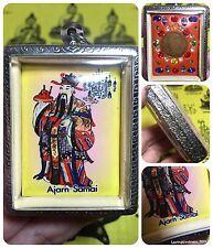 Huge Beautiful Guan Yu Gemstones Rama 9 Coin Thai Amulet Luck Rich Win Protect