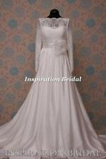 1597 White Ivory wedding dress Classic floor length 119 rosa long sleeves boat