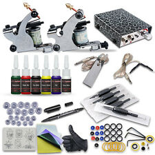 Fashionable Complete 2 Tattoo Machine Kit with Guns Power Supply Ink Needles