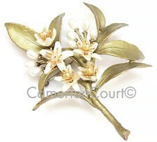 Orange Blossom Brooch Pin By Michael Michaud, Silver Seasons Ships Next Day!