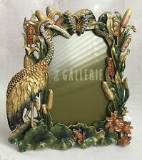 Jeweled Enamel Picture Frame with Crane, Cattails, and Rhinestones, New