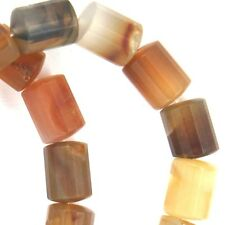 "15.5"" NATURAL Carnelian FACETED Tube 28 Beads 11x14mm K1525"