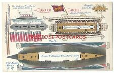 4 Stack CUNARD LINER Cut Out TOY MODELS Postcard ca1915 ACQUITANIA? RARE Novelty