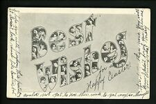 Large Letter Greetings postcard Best Wishes w/ Easter message 1908 Vintage