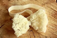 Christening Girl Baby Headband Hair band Chiffon Rose Bow Wedding Lace Flower