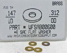 """#6S Flat Washers Solid Brass 9/64""""IDx5/16""""OD (100)"""