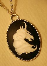 Handsome Rope Rimmed Navy & White Horned Unicorn Silvertone Pendant Necklace