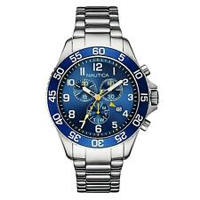 Nautica Men's 45mm Chronograph Silver Steel Bracelet & Case Date Watch NAI17508G