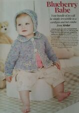 Baby cardigan and hat knitting pattern.  Blueberry Babe By Sirdar