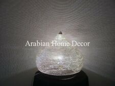 "Handcrafted Moroccan Silver Plated Pinholes Brass 12"" Table Lamp Light"