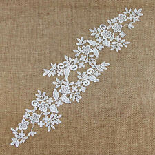 1 Pair Bridal Wedding Off-White Lace Trim Flower Mirror Motif Sewing Applique