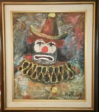 CLEARANCE SALE MID CENTURY PAINTING CLOWN ON CANVAS SIGNED ANTHONY