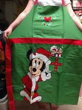 Disney Parks Santa Mickey Mouse Christmas Holiday Kitchen Chef Adult Apron NEW