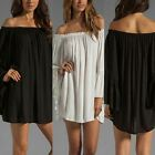 S-3XL Womens Chiffon Off Shoulder Pleated Long Loose Casual Tops Boho Mini Dress