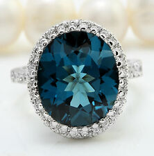 9.15 CTW Natural London Blue Topaz and Diamonds in 14K Solid White Gold Ring