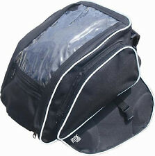 MOTORCYCLE MAGNETIC BLACK TANK BAG & MAP WINDOW MOTORBIKE/BIKE LUGGAGE PANNIER