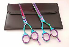 "Professional 5.5"" Hairdressing Barber Rainbow Titanium Razor Scissors Set  Pouch"