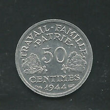 FRANCE,  1944-B,  50 CENTIMES, ALUMINUM,  KM#914.2,  BRILLIANT UNCIRCULATED